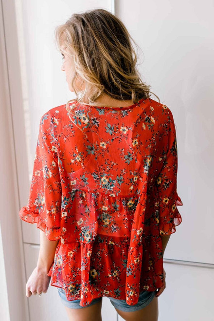Tiered Floral Print Sheer Top - Red Multi  - FINAL SALE