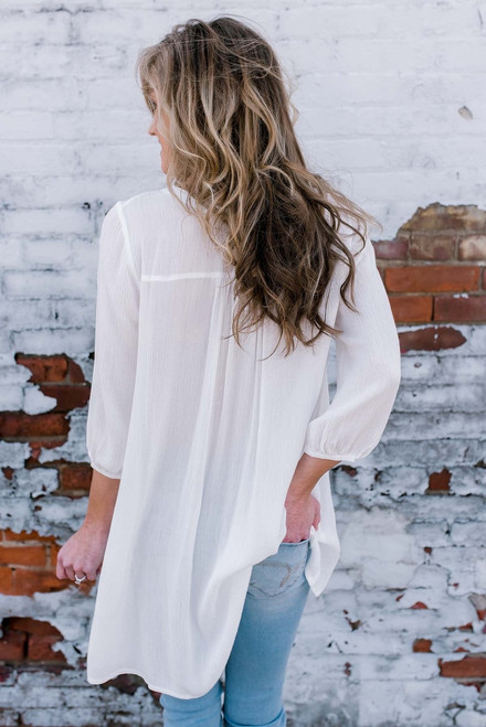 Summer Breeze Crochet Detail Tunic - Off White