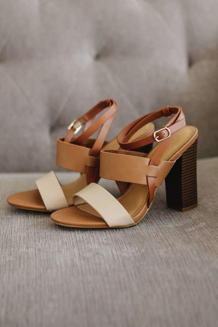 Nantucket Tri-Color High Heeled Sandals - Brown - FINAL SALE