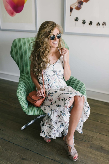 Button Down Floral High Low Dress - Off White Multi