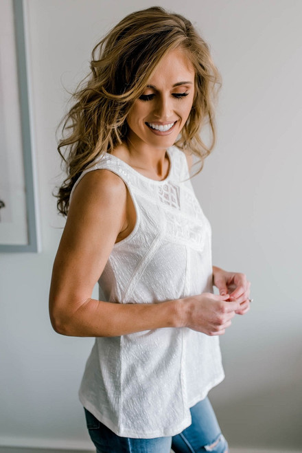 Sweet Summertime Lace Detail Tank - Off White