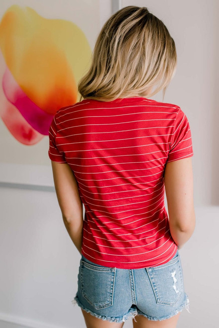 Home Plate Striped V-Neck Tee - Red/White