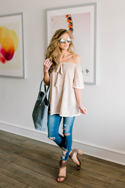 Off the Shoulder Floral Tunic - Taupe