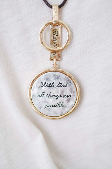 Matthew 19:26 Pendent Necklace Set - Gold/Silver