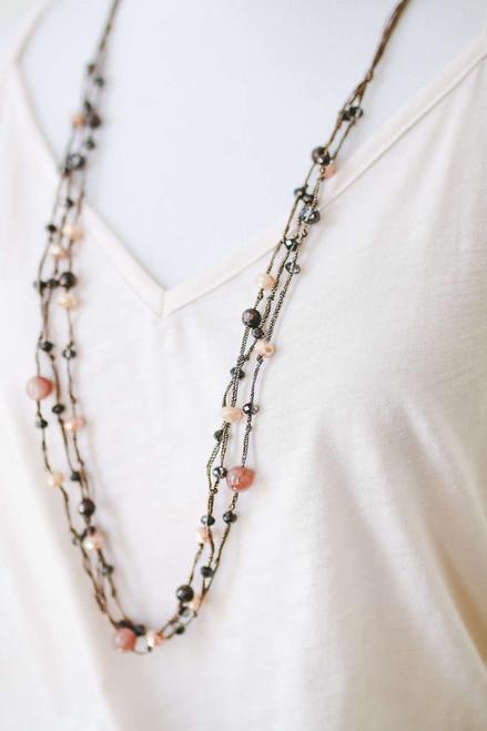 Seaside Beaded Necklace Set - Brown Multi