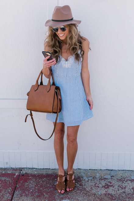 French Countryside Striped Dress - Light Blue/White