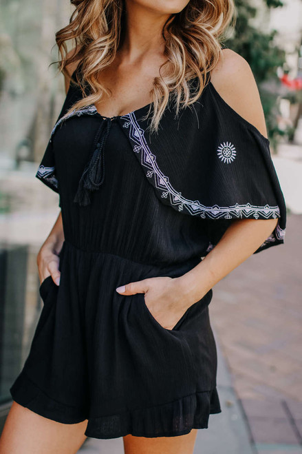 Cold Shoulder Embroidered Romper - Black/White - FINAL SALE