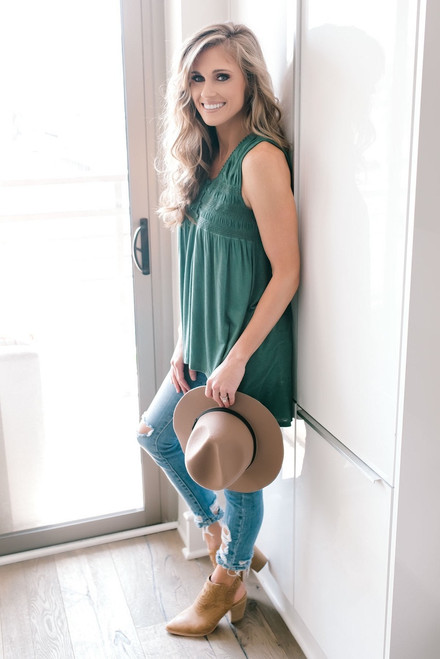 Sleeveless Smocked High Low Tunic - Evergreen