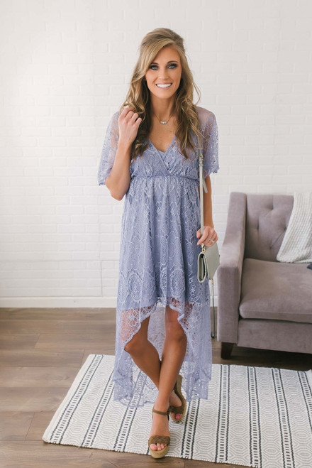 Beach Bliss High Low Lace Dress - Periwinkle