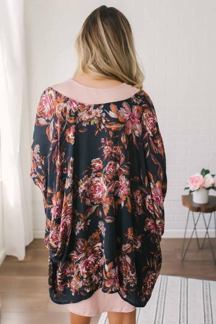 Watercolor Floral Print Kimono - Black Multi