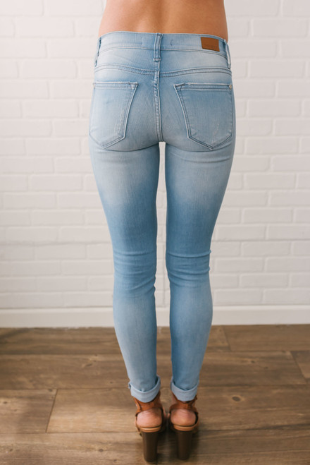 Ocean Wave Faded Skinny Jeans - Light Wash
