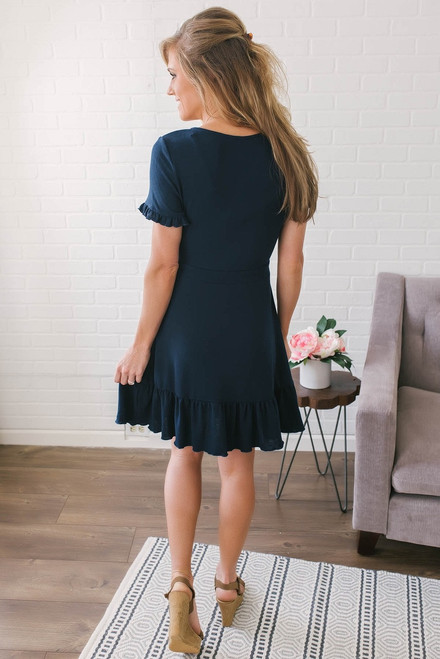 Short Sleeve Surplice Ruffle Dress - Navy