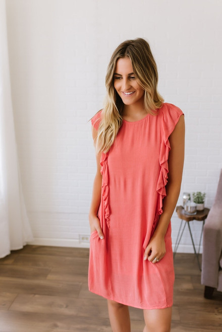 Ruffle Accented Shift Dress - Coral  - FINAL SALE
