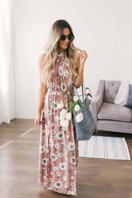 Floral Print Halter Maxi - Dusty Rose Multi