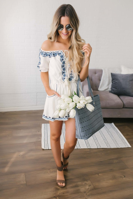Off the Shoulder Embroidered Romper - Off White Multi  - FINAL SALE