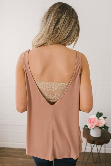 Deep V-Back Ribbed Tank - Dusty Pink - FINAL SALE