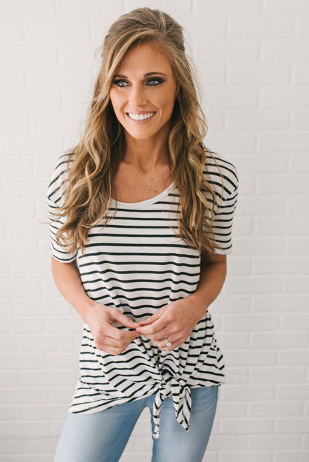 Short Sleeve Striped Knot Top - White/Black