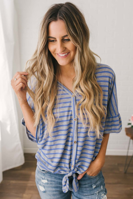 Button Down Striped Knot Top - Purple/Grey