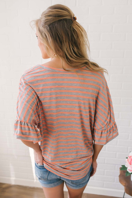 Button Down Striped Knot Top - Coral/Grey - FINAL SALE