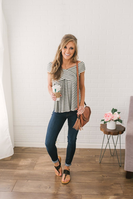 Off the Shoulder Striped Top - Charcoal/Off White
