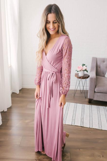 Faux Wrap Lace Sleeve Maxi Dress - Mauve - FINAL SALE