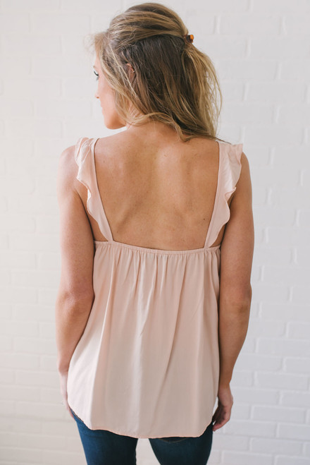 Embroidered Ladder Detail Tank - Pale Pink
