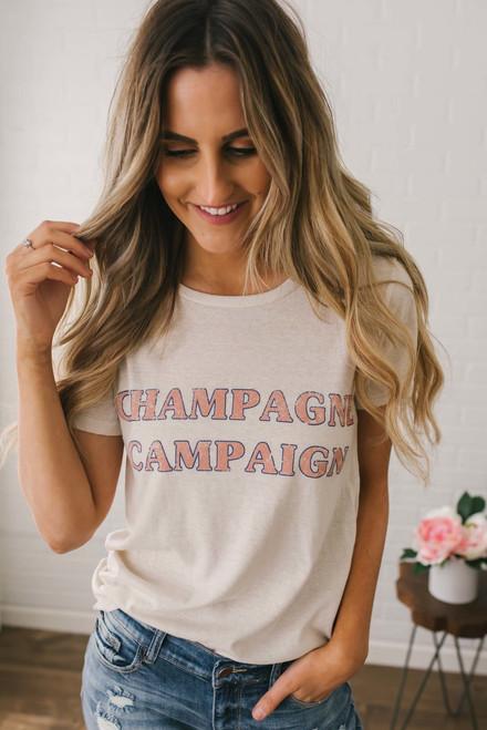 Champagne Campaign Graphic Tee - Cream