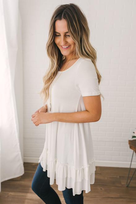 Short Sleeve Nightcap Tunic - Off White