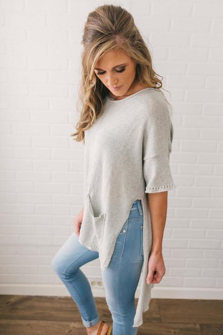 Short Sleeve Pocket Pullover - Heather Grey