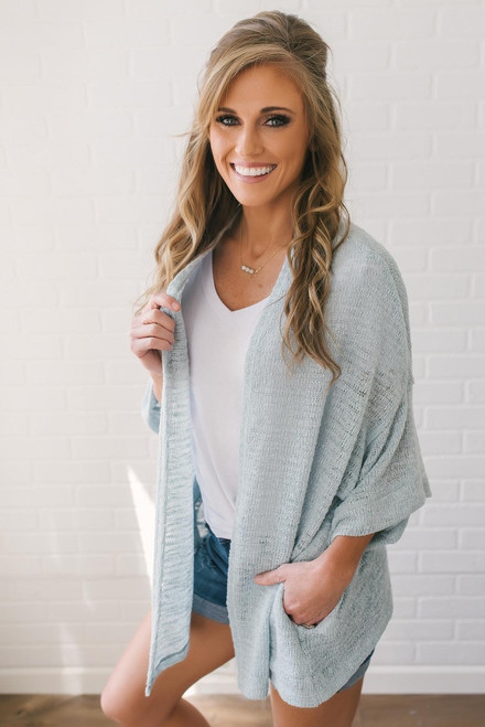 Pacific Heights Knit Cardigan - Light Blue
