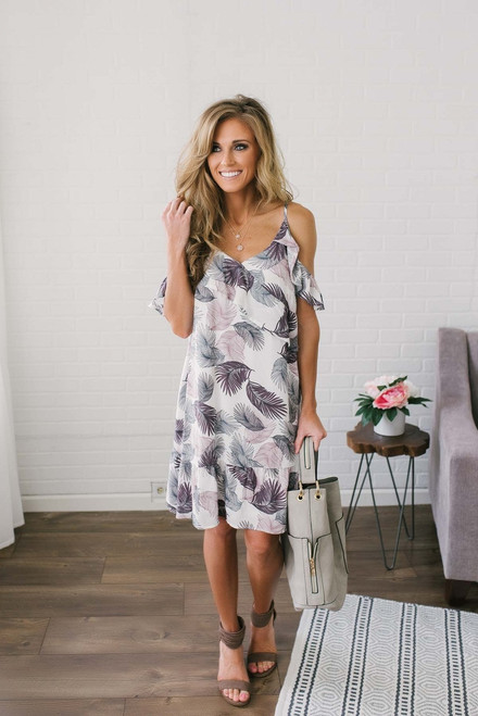 Cold Shoulder Tropical Print Dress - Purple Multi - FINAL SALE