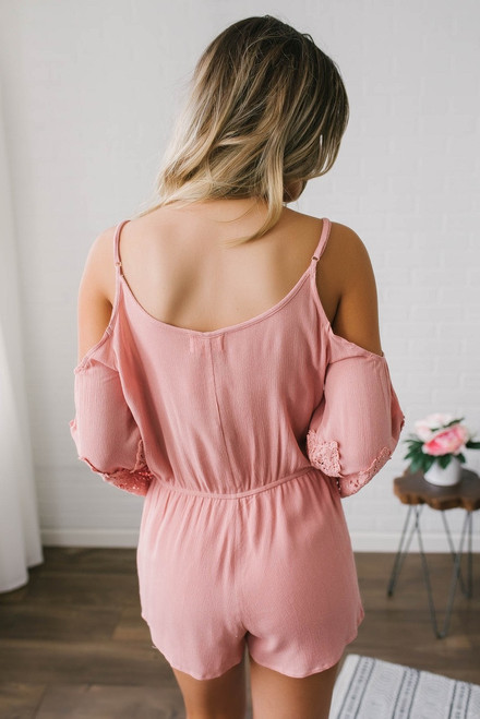 Crochet Cold Shoulder Romper - Rose  - FINAL SALE