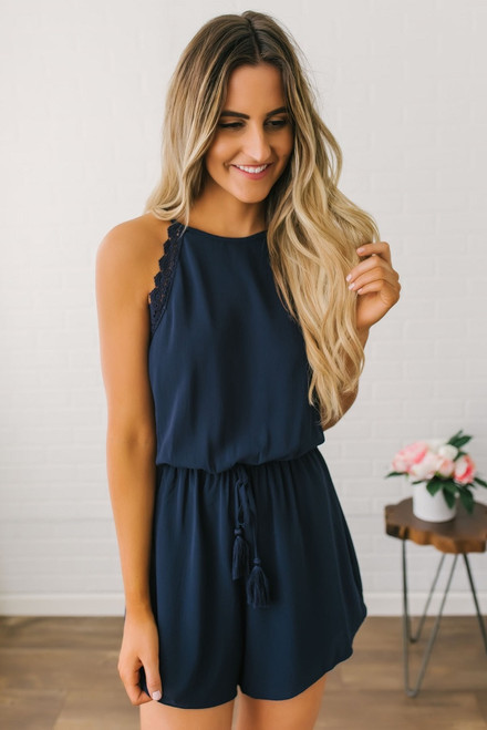Scalloped Detail Halter Romper - Navy