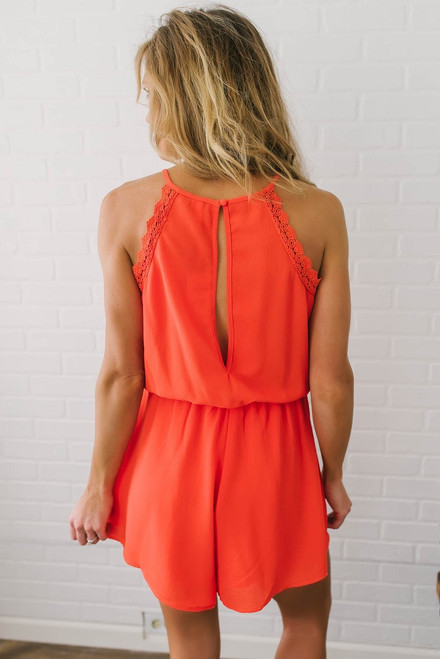 Scalloped Detail Halter Romper - Red Orange