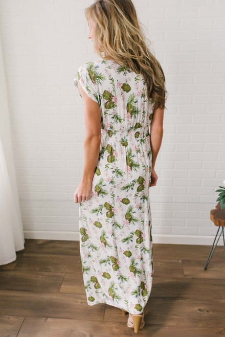 Cap Sleeve Floral Print Maxi - Off White Multi