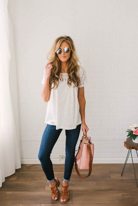 Short Sleeve Lace Detail Top - Ivory