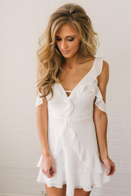 Cold Shoulder Ruffle Detail Lace Dress - Off White
