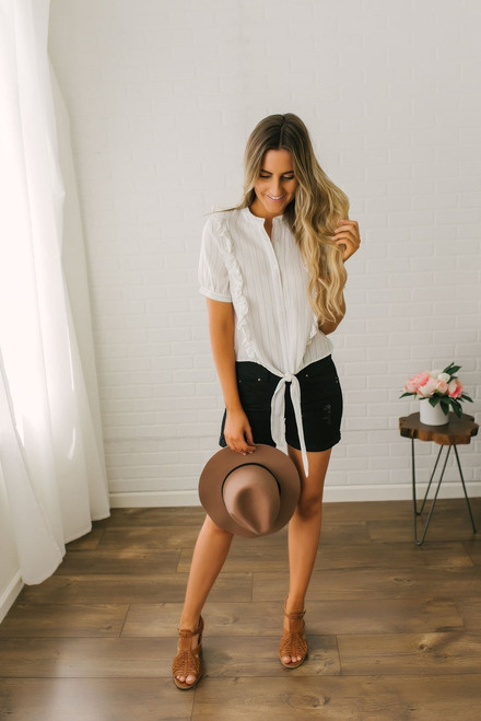Short Sleeve Striped Ruffle Knot Top - Off White/Black - FINAL SALE