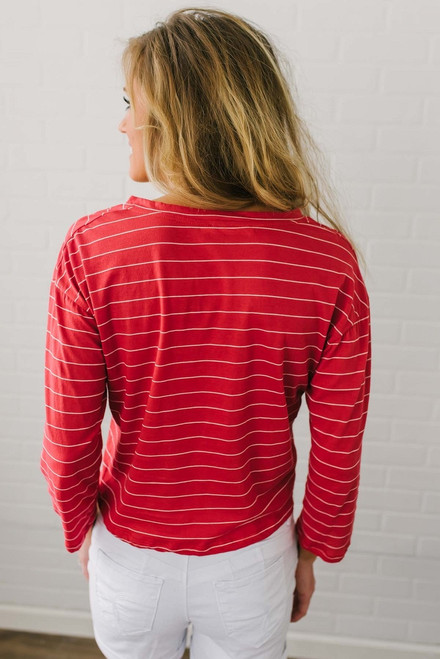 Home Plate Striped Knot Top - Red/White - FINAL SALE