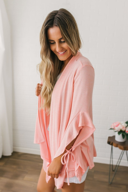 Tapered Ruffle Sleeve Cardigan - Neon Peach