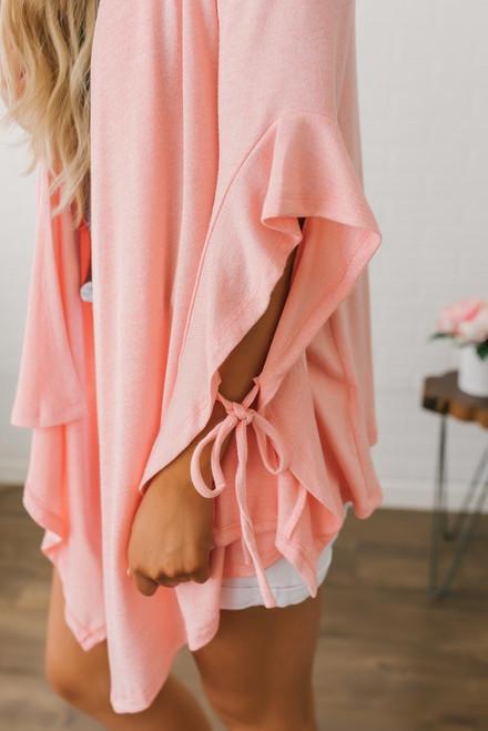 Tapered Ruffle Sleeve Cardigan - Neon Peach - FINAL SALE