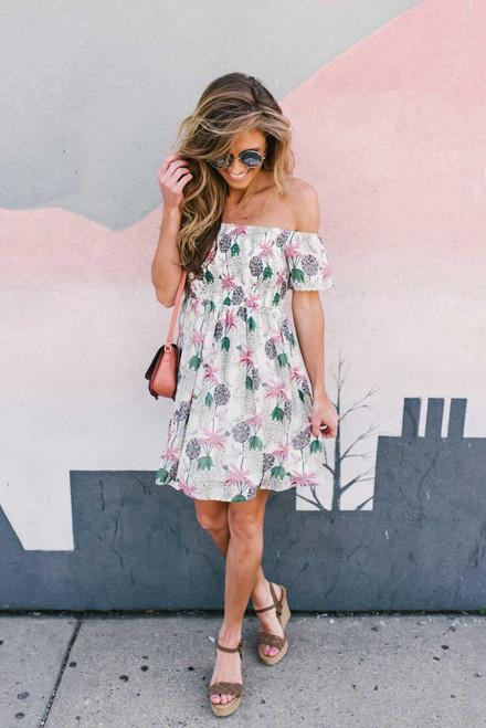 Off the Shoulder Smocked Floral Dress - Off White Multi