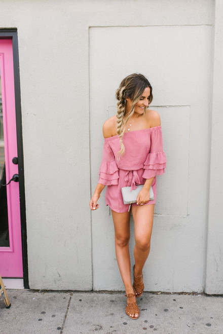 Off the Shoulder Ruffle Romper - Dusty Pink