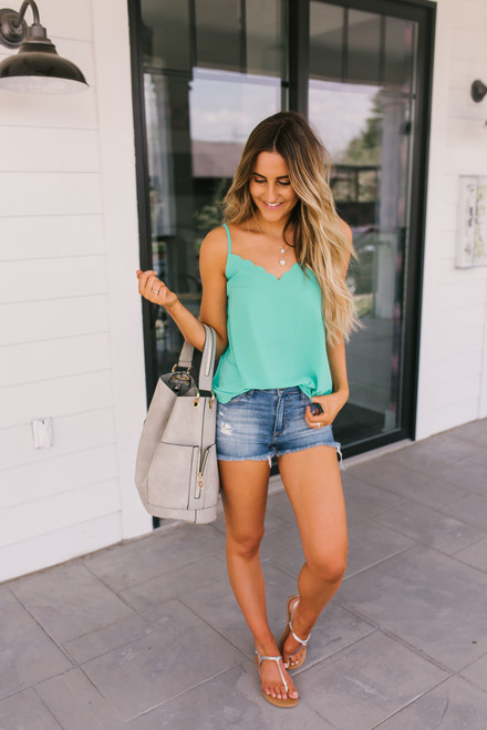 Making Waves Scalloped Tank - Jade - FINAL SALE