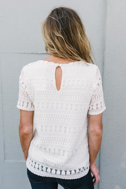 Annabelle Short Sleeve Lace Top - Ivory