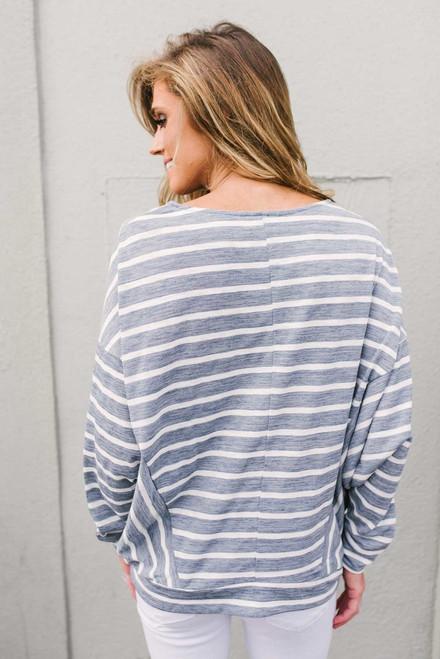 Striped Dolman Knot Top - Blue/White