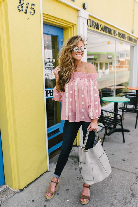 Off the Shoulder Embroidered Top - Dusty Pink