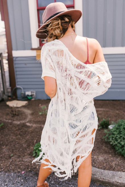Short Sleeve Crochet Duster Cardigan - Ivory