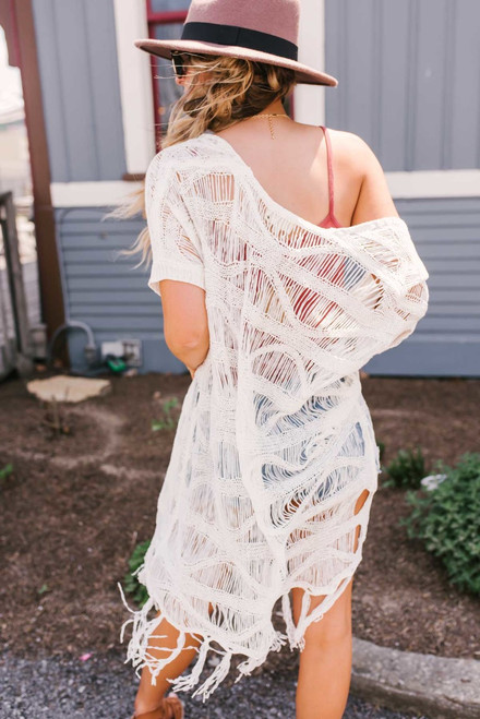 Short Sleeve Crochet Duster Cardigan - Ivory - FINAL SALE