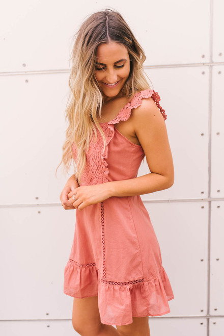 Crochet Accented Fit & Flare Dress - Canyon Rose